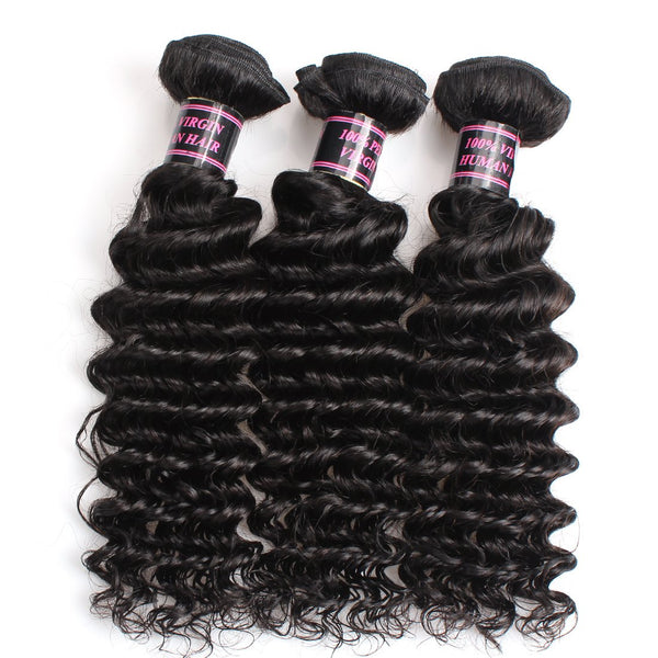 Ishow Hair Malaysian Deep Curly Human Hair Weave Extensions 3pcs/lot