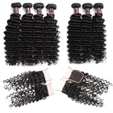 ishow hair malaysian deep wave hair 4 bundles with virgin hair closure