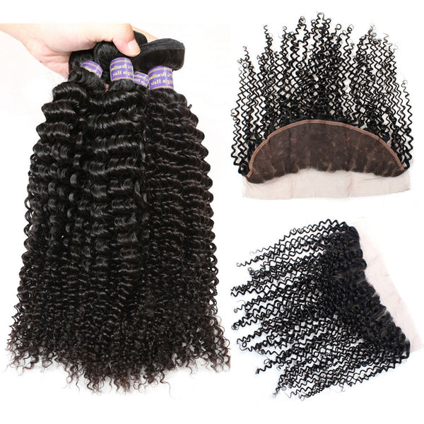 Easy Hair 10A Kinky Curly Malaysian Virgin Hair 4 Bundles With 13x4 Lace Frontal - Easy Hair