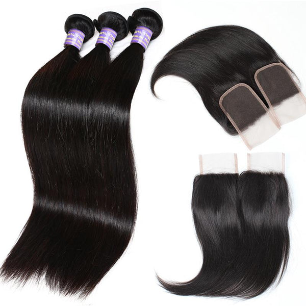 allove peruvian silky straight human hair 3 bundles with lace closure
