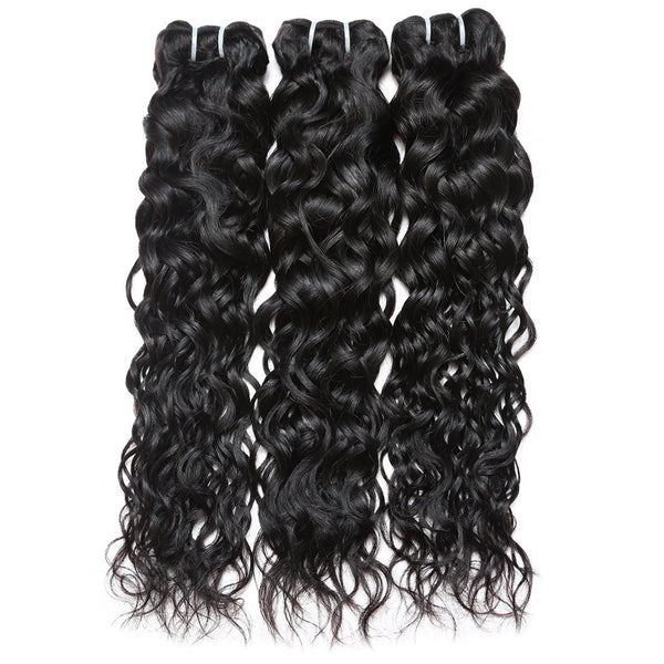 Ishow Hair Indian Virgin Hair Water Wave Bundles 3pcs with Lace Closure