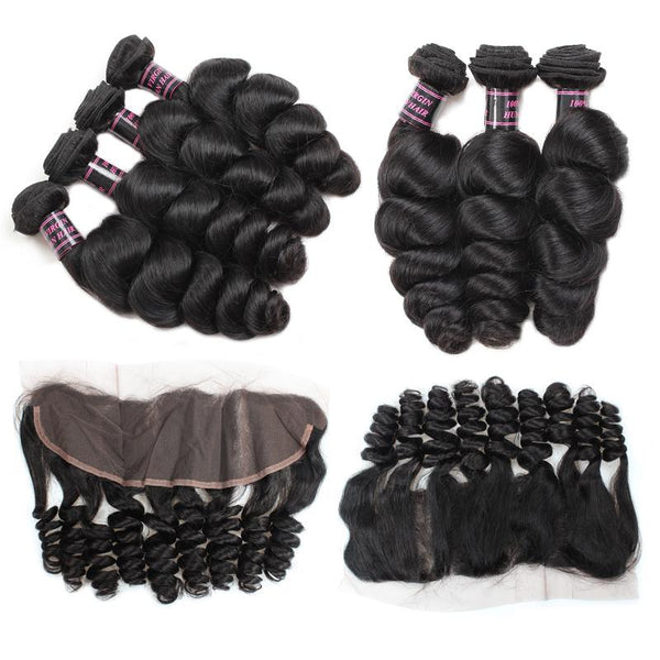 Easy Hair 8A Brazilian Loose Wave Virgin Hair 3 Bundles With 13x4 Frontal Lace Closure - Easy Hair