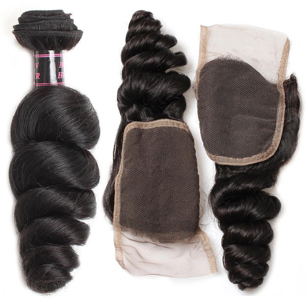 Easy Hair Malaysian Loose Wave Hair Virgin Human Hair 3 Bundles With Lace Closure - Easy Hair