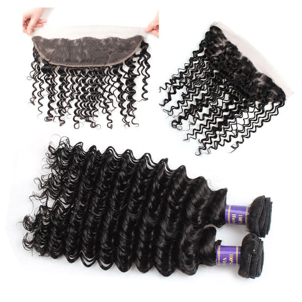 ALLove Brazilian Deep Wave Virgin Hair 3 Bundles With 13x4 Lace Frontal
