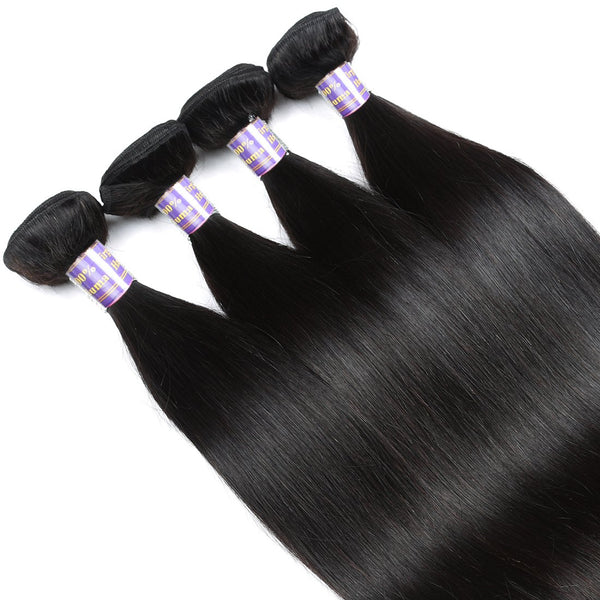 Allove Malaysian Virgin Hair Straight 4 Bundles With Lace Closure