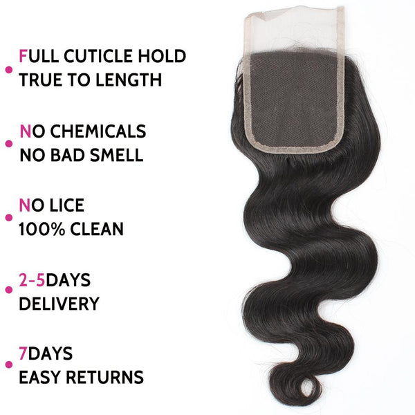 Allove Hair Unprocessed Brazilian Body Wave Human Hair 3 Bundles with Lace Closure