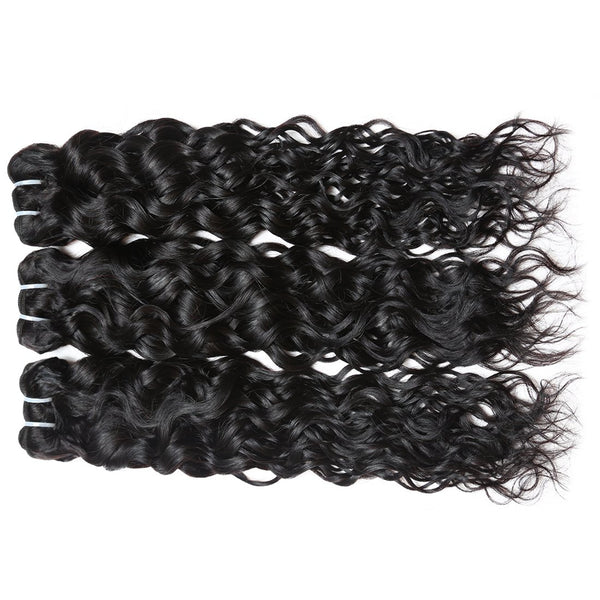 Easy Hair Malaysian Virgin Human Hair Water Wave Hair 3 Bundles With Lace Closure - Easy Hair
