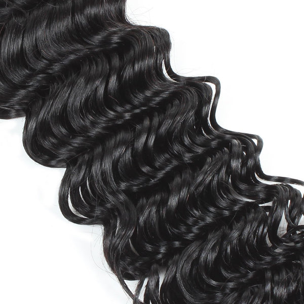 Ishow Malaysian Virgin Human Hair Deep Wave Lace Closure Hair Extnesion