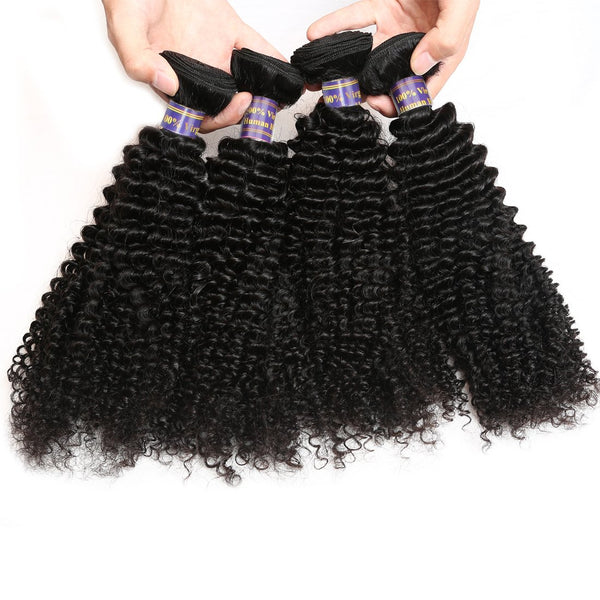 Easy Hair 10A Grade Brazilian Virgin Human Hair Kinky Curly 4 Bundles With Lace Closure - Easy Hair