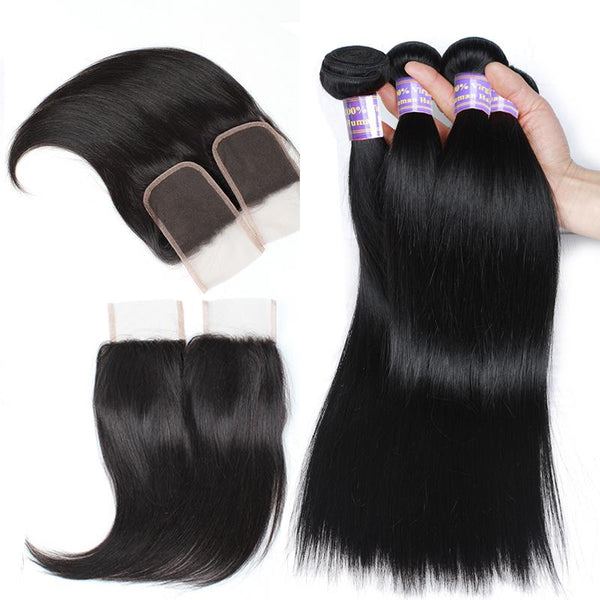 Easy Hair 10A Peruvian Virgin Hair Straight 4 Bundles With Closure Unprocessed Human Hair Bundles - Easy Hair