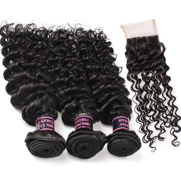 Ishow Peruvian Virgin Hair Deep Wave 3 Bundles with Free Part Lace Closure