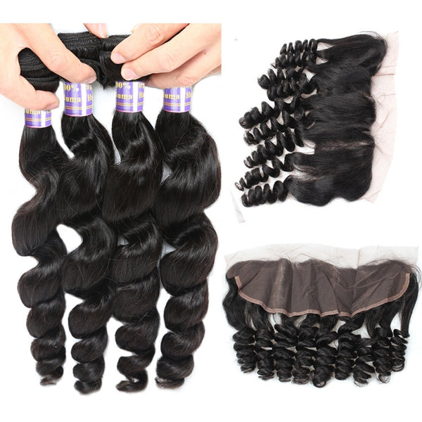 Allove Loose Wave Malaysian Virgin Hair 4 Bundles With 13x4 Lace Frontal Closure