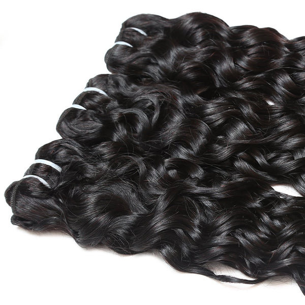 Ishow Hair Peruvian Water Wave 3 Bundles With Human Hair Lace Closure - Easy Hair