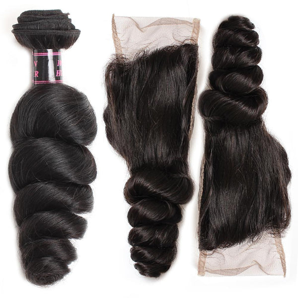 Easy Hair Malaysian Virgin Human Hair Loose Wave 4 Bundles With Lace Closure - Easy Hair