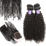 Allove Indian Virgin Hair Kinky Curly 4 Bundles With Lace Closure Unprocessed Human Hair Bundles