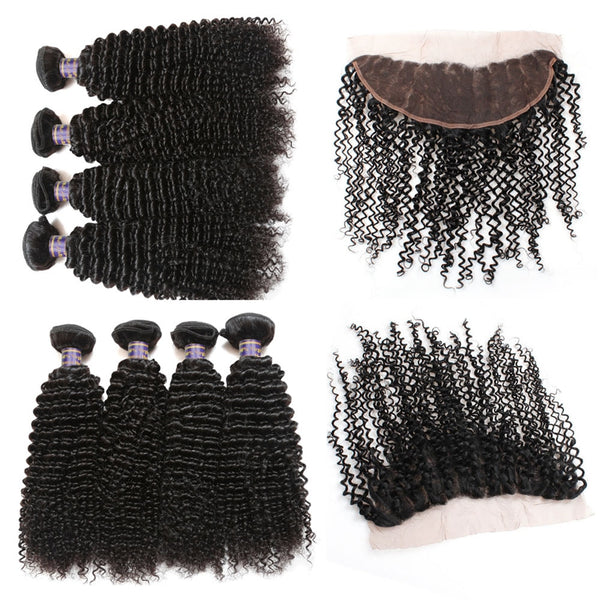 Allove Brazilian Kinky Curly Virgin Human Hair 4 Bundles with 13x4 Lace Frontal Closure - Easy Hair