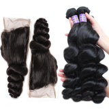 allove indian loose wave human hair 3 bundles with lace closure