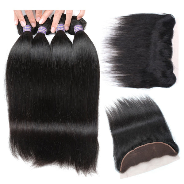 Easy Hair Virgin Human Hair 10A Indian Straight Hair 4 Bundles With 13*4 Lace Frontal Closure - Easy Hair