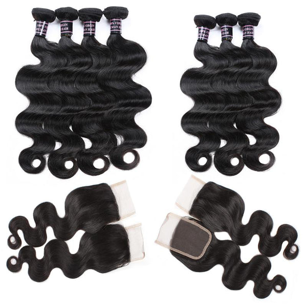Easy Hair Indian Virgin Hair Body Wave Bundles 3pcs With Lace Closure - Easy Hair
