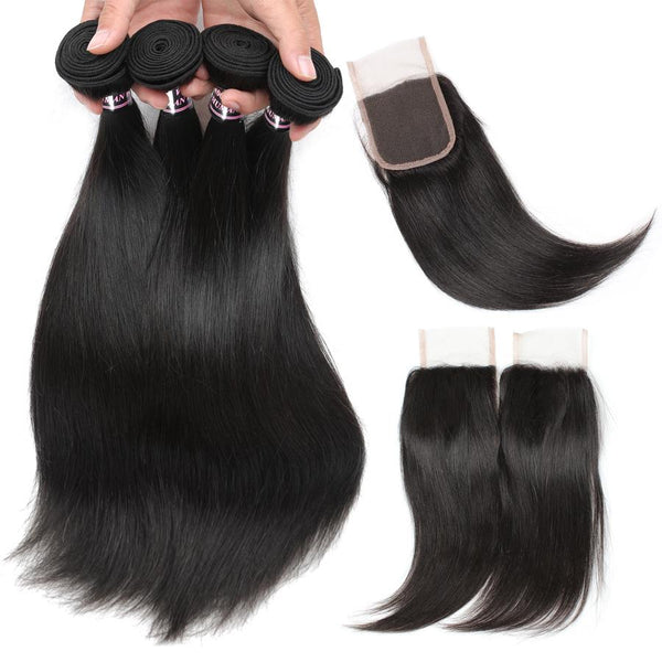 Ishow Hair Brazilian Straight Human Hair 4 Bundles with Straight Lace Closure