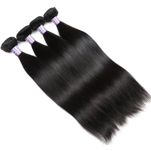 Easy Hair 10A Straight Brazilian Virgin Human Hair 4 Bundles With 13x4 Lace Frontal Closure - Easy Hair