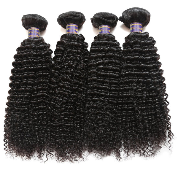 Allove Unprocessed Brazilian Kinky Curly Virgin Human Hair 4 Bundles Weave - Easy Hair