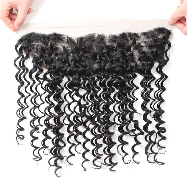 Allove Hair Indian Deep Wave Hair 4 Bundles With Lace Frontal Closure Natural Color - Easy Hair