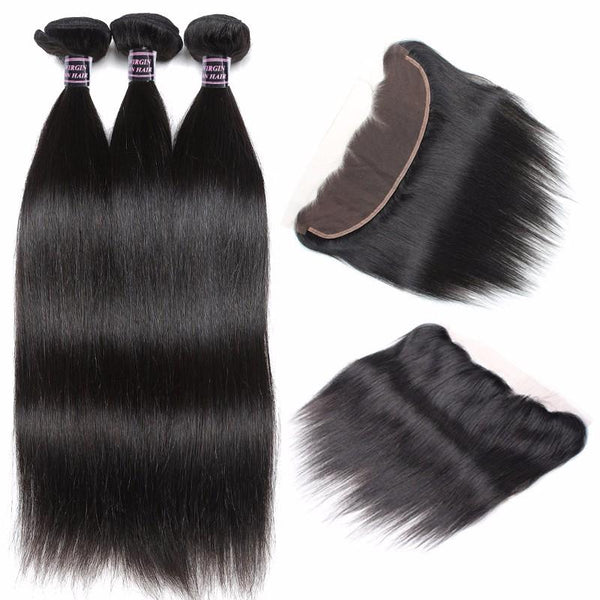 Ishow 8A Brazilian Virgin Straight Hair 3 Bundles With Lace Frontal Closure - Easy Hair