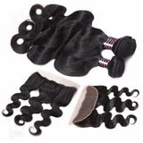 ishow 8a brazilian virgin hair body wave 3 bundles with lace frontal closure