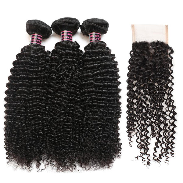 Ishow Hair Indian Virgin Hair Curly Wave Bundles 3pcs with Lace Closure