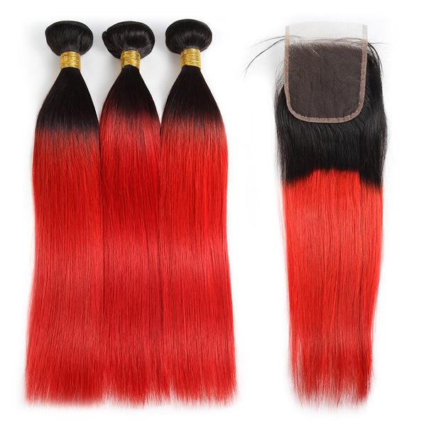 Easy Hair Ombre T1B/39J Brazilian Virgin Straight Wave Human Hair Extensions 3 Bundles With 4*4 Lace Closure - Easy Hair