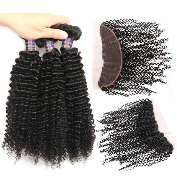 Easy Hair 10A Malaysian Curly Wave Virgin Hair 3 Bundles With 13x4 Lace Frontal - Easy Hair
