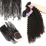 allove malaysian kinky curly human hair 3 bundles with lace closure