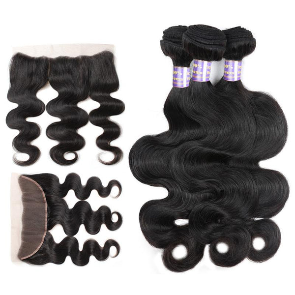 Allove Hair Indian Body Wave 3 bundles With 13*4 Lace Frontal Closure - Easy Hair