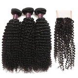 ishow hair brazilian curly human hair 3 bundles with curly lace closure