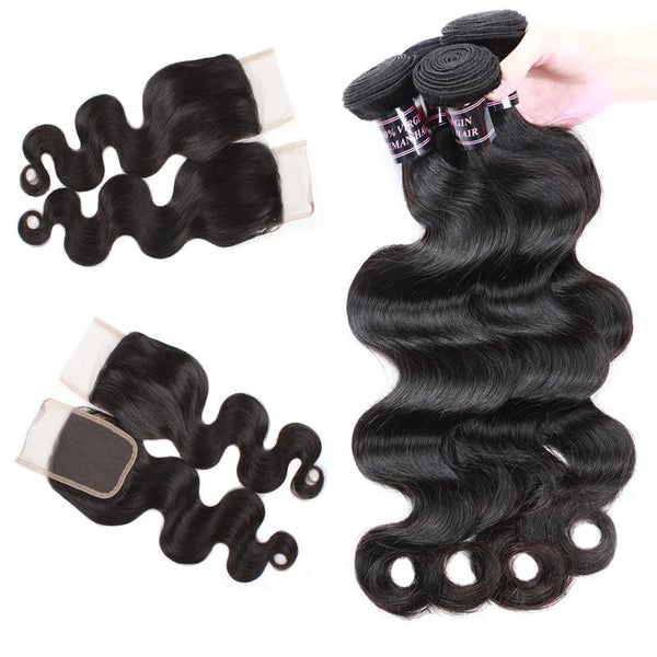 Easy Hair Peruvian Body Wave Human Hair Weave 4 Bundles With Lace Closure - Easy Hair