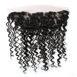 Indian Virgin Hair Deep Wave Wave Lace Frontal 13x4 Ear To Ear Closure