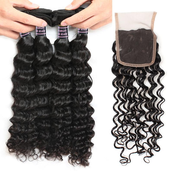 Easy Hair Brazilian Deep Wave Hairstyles 4 Bundles with Lace Hair Closure - Easy Hair