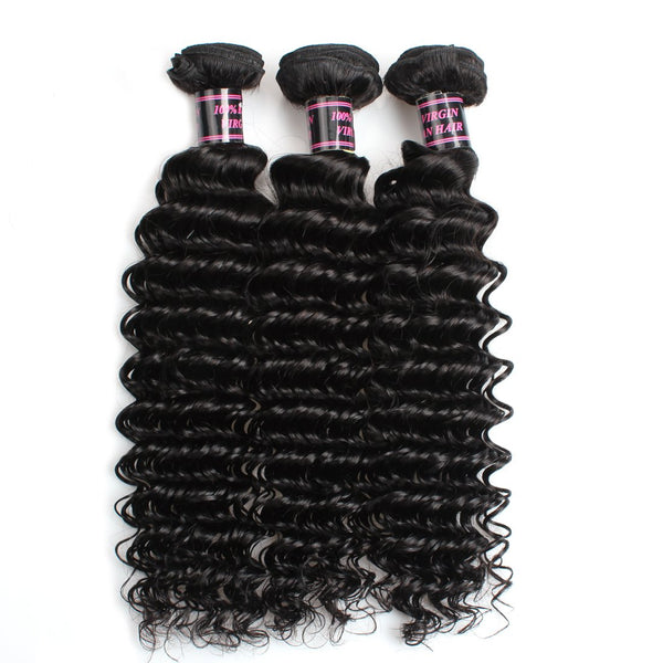 Ishow Peruvian Deep Wave Virgin Human Hair Bundles 4 pcs/lot
