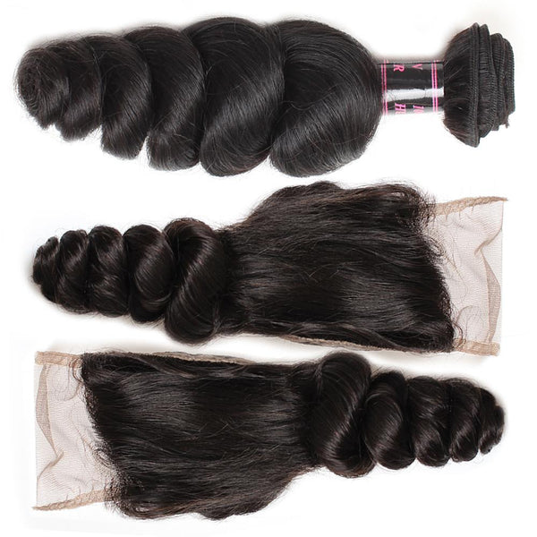 Easy Hair Natural Indian Hair Loose Wave Human Hair 4 Bundles With Lace Closure - Easy Hair