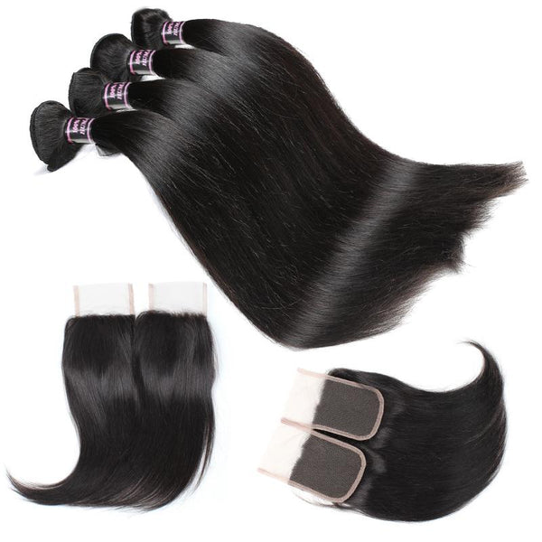 Ishow Peruvian Straight Human Hair 4 Bundles With Lace Closure - Easy Hair