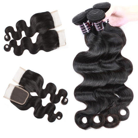 ishow cheap peruvian body wave human hair weave 4 bundles with lace closure