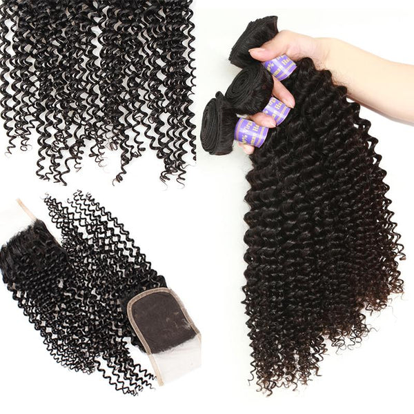 Easy Hair 10A Indian Kinky Curly Virgin Hair 4 Bundles With Lace Closure Human Hair - Easy Hair