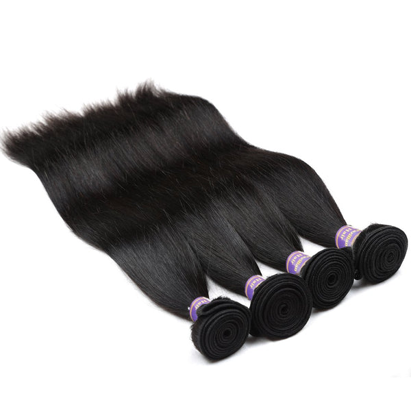 Allove Hair Straight Brazilian Virgin Human Hair 4 Bundles with 13x4 Lace Frontal Closure