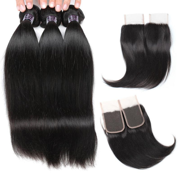 Ishow Hair Indian Virgin Human Hair Straight Bundles 4pcs with Lace Closure