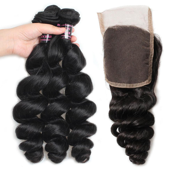 Easy Hair Brazilian Loose Wave Hairstyles 4 Bundles With Lace Closure Hair - Easy Hair