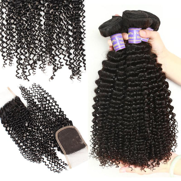 allove peruvian kinky curly human hair 3 bundles with lace closure