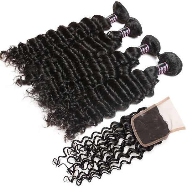 Easy Hair Peruvian Deep Wave Human Hair Weave 4 Bundles With Lace Closure - Easy Hair