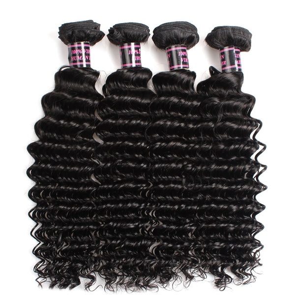 Easy Hair Peruvian Deep Wave Virgin Human Hair Bundles 4 pcs/lot - Easy Hair