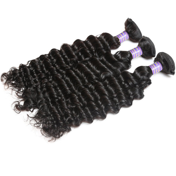 Allove Hair Unprocessed Peruvian Deep Wave Human Hair 3 Bundles with Lace Closure